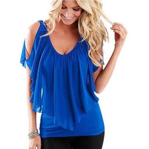 Women's Ruffled V-Neck Blouse Blouses & Shirts Women's Clothing & Accessories