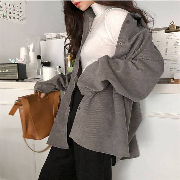 Oversized Warm Corduroy Shirt for Women Blouses & Shirts Women's Clothing & Accessories