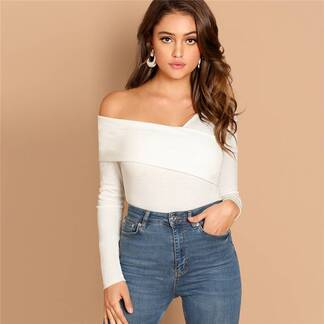 Women's Asymmetrical Neck Design White Blouse Blouses & Shirts Women's Clothing & Accessories