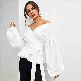 Women's Elegant Style Wrap Design Blouse Blouses & Shirts Women's Clothing & Accessories
