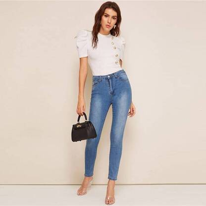 Women's Puff Sleeve White Blouse Blouses & Shirts Women's Clothing & Accessories