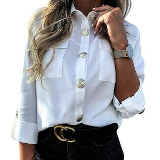 Women's Casual Button Blouse with Pockets Blouses & Shirts Women's Clothing & Accessories