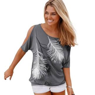 Women's Casual Off Shoulder Feathers Printed Blouse Blouses & Shirts Women's Clothing & Accessories