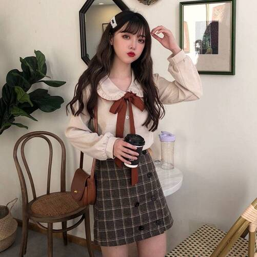 Women's Bow Flannel Blouse with Ruffled Collar Blouses & Shirts Women's Clothing & Accessories