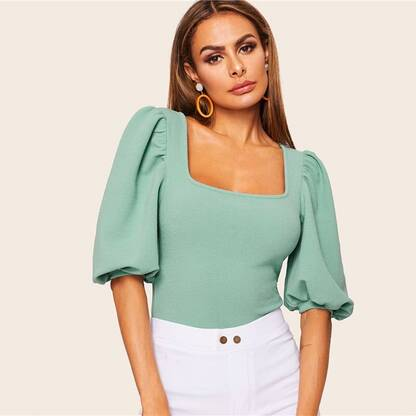 Women's Puff Sleeve Turquoise Blouse Blouses & Shirts Women's Clothing & Accessories
