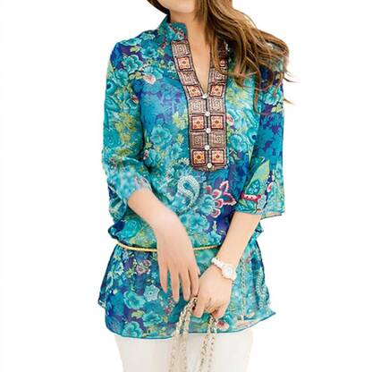 Women's Boho Half Sleeved Chiffon Blouse Blouses & Shirts Women's Clothing & Accessories