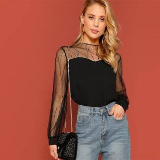 Women's Sheer Design Black Blouse Blouses & Shirts Women's Clothing & Accessories