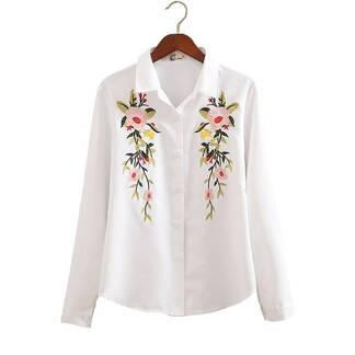 Fashion Summer Flower Embroidery Cotton Women's Shirt Blouses & Shirts Women's Clothing & Accessories