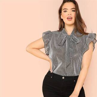 Women's Plus Size Gray Ruffle Blouse Blouses & Shirts Women's Clothing & Accessories
