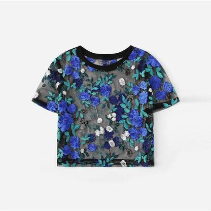 Women's Floral Embroidery Sheer Blouse Blouses & Shirts Women's Clothing & Accessories