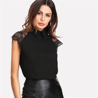 Women's Floral Lace Embroidery Cap Sleeve Blouse Blouses & Shirts Women's Clothing & Accessories