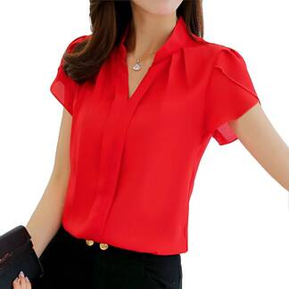 Women's Formal Short Sleeve Chiffon Shirts Blouses & Shirts Women's Clothing & Accessories