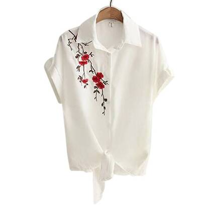 Women's Casual Blouse With Floral Embroidery Blouses & Shirts Women's Clothing & Accessories