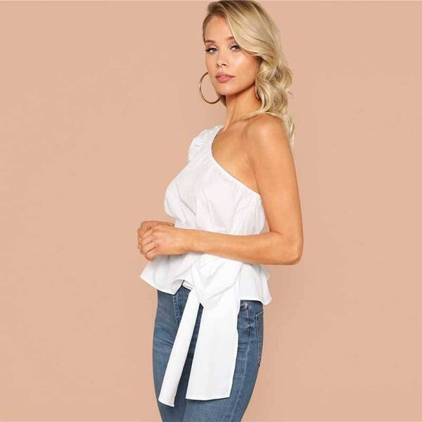 Women's One Shoulder Belted Blouse Blouses & Shirts Women's Clothing & Accessories