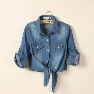 Women's Casual Short Half Sleeved Denim Shirt Blouses & Shirts Women's Clothing & Accessories
