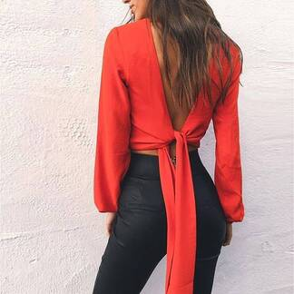 Women's Deep V-Neck Long Sleeved Blouse Blouses & Shirts Women's Clothing & Accessories