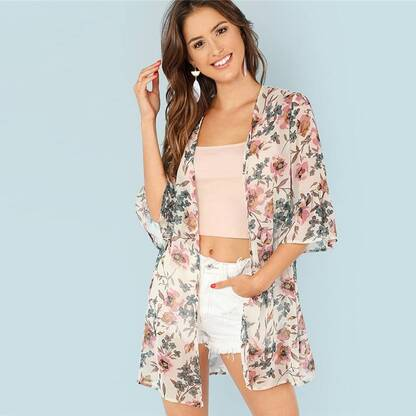 Women's Floral Patterned Summer Kimono Blouses & Shirts Women's Clothing & Accessories
