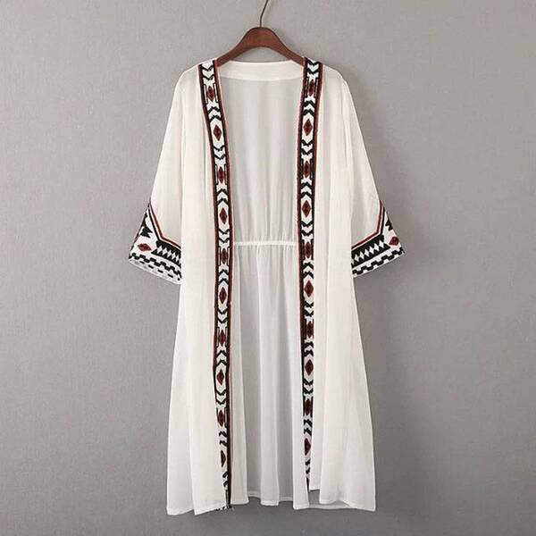 Women's Ethnic Embroidered Long Cardigan Blouses & Shirts Women's Clothing & Accessories