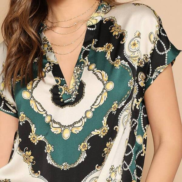 Women's Scarf Print V-Neck Blouse Blouses & Shirts Women's Clothing & Accessories