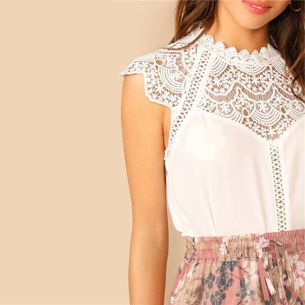 Women's White Guipure Sleeveless Blouse Blouses & Shirts Women's Clothing & Accessories