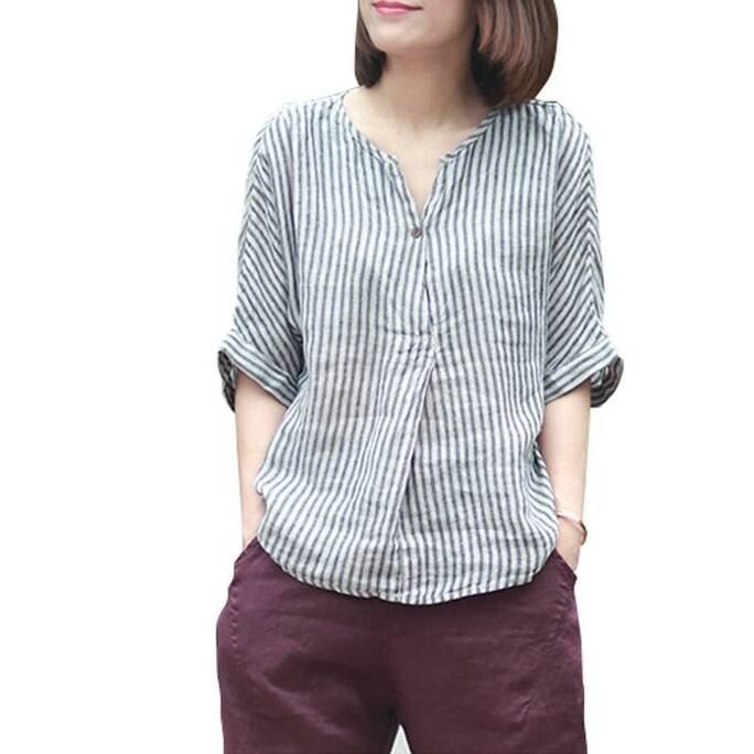 Women's Loose Striped Cotton Shirts Blouses & Shirts Women's Clothing & Accessories