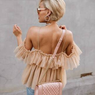 Women's Ruffled Mesh Cami Blouse Blouses & Shirts Women's Clothing & Accessories