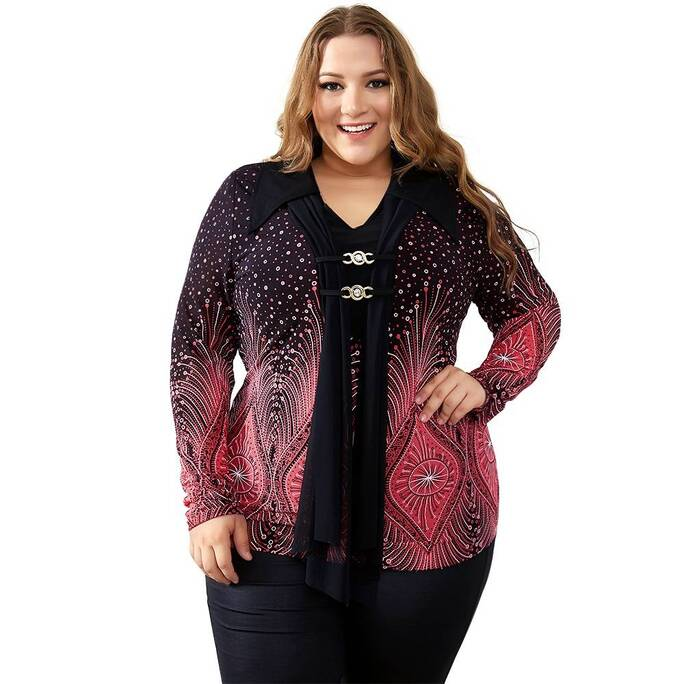 Vintage Plus Size Flare Sleeve Top with Diamonds Decoration Blouses & Shirts Women's Clothing & Accessories