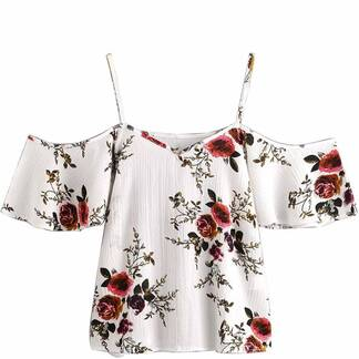 Women's Floral Off Shoulder Chiffon Blouse Blouses & Shirts Women's Clothing & Accessories