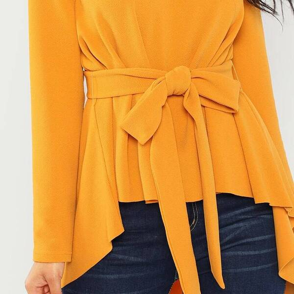 Women's Asymmetrical Design Long Sleeve Blouse Blouses & Shirts Women's Clothing & Accessories