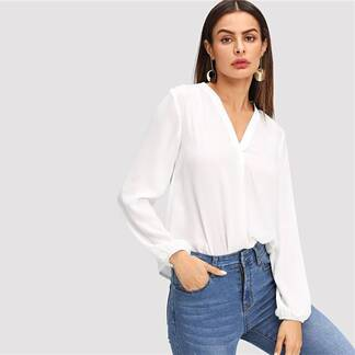 Women's Classic Design White Blouse Blouses & Shirts Women's Clothing & Accessories