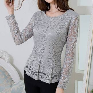 Women's Lace Long Sleeved Plus Size Blouse Blouses & Shirts Women's Clothing & Accessories