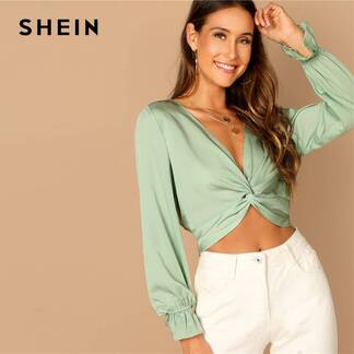 Women's Green Twist Blouse Blouses & Shirts Women's Clothing & Accessories