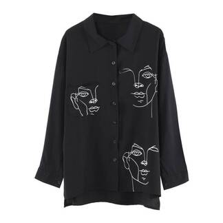 Women's Black / White Blouse with Face Print Blouses & Shirts Women's Clothing & Accessories