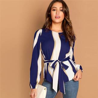 Women's Striped Design Elegant Blouse Blouses & Shirts Women's Clothing & Accessories