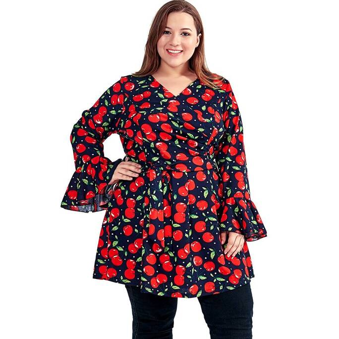 Women's Casual Long Blouse with Cherry Print Blouses & Shirts Women's Clothing & Accessories