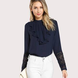 Women's Navy Blue Ruffle Design Elegant Blouse Blouses & Shirts Women's Clothing & Accessories