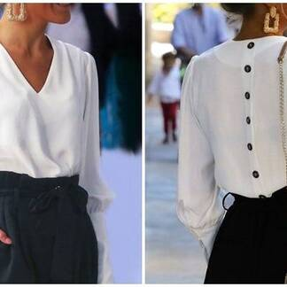 Women's V-Neck Puff Sleeved Back Closure Blouse Blouses & Shirts Women's Clothing & Accessories