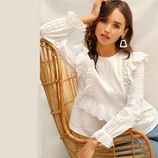 Women's Embroidered Ruffle Design Blouse Blouses & Shirts Women's Clothing & Accessories