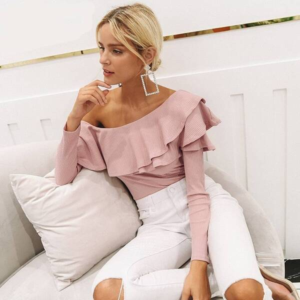 Women's One Shoulder Ruffled Blouse Blouses & Shirts Women's Clothing & Accessories