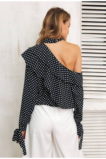Women's One Shoulder Polka Dot Blouse Blouses & Shirts Women's Clothing & Accessories