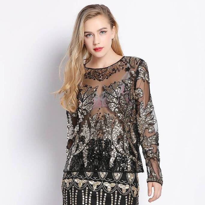Women's Silver Leaf Sequined Blouse Blouses & Shirts Women's Clothing & Accessories