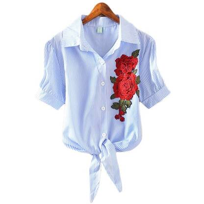 Women's Striped Rose Embroidered Shirt Blouses & Shirts Women's Clothing & Accessories