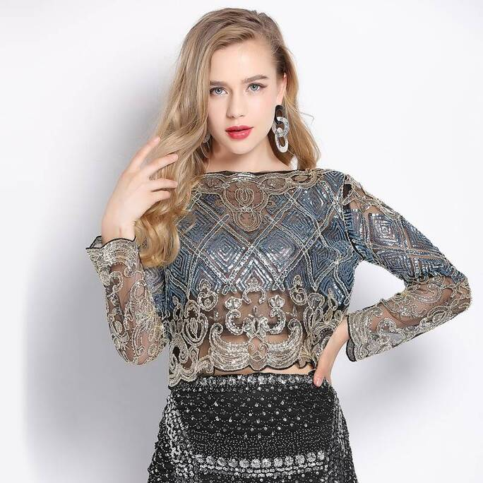 Women's Geometric Pattern Sequined Crop Top Blouses & Shirts Women's Clothing & Accessories