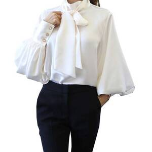Women's Classic Chiffon Blouse With Long Lantern Sleeves Blouses & Shirts Women's Clothing & Accessories