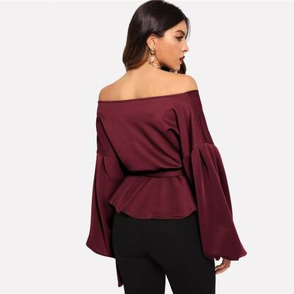 Women's Burgundy Off-Shoulder Blouse Blouses & Shirts Women's Clothing & Accessories