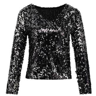 Women's Solid Color Sequined Blouse Blouses & Shirts Women's Clothing & Accessories