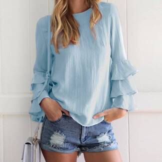 Women's Long Frill Sleeved Blouse Blouses & Shirts Women's Clothing & Accessories