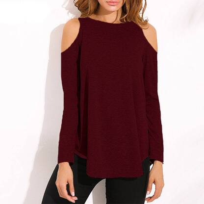 Women's Off Shoulder Long Sleeved Blouse Blouses & Shirts Women's Clothing & Accessories