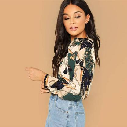 Women's Multicolor Chain Print Long Sleeve Shirt Blouses & Shirts Women's Clothing & Accessories