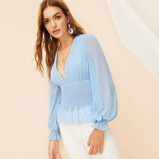 Women's Boho Style Smocked Design Blouse Blouses & Shirts Women's Clothing & Accessories